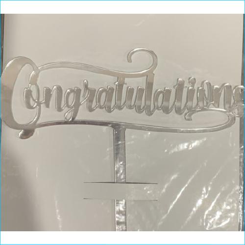 Cake Topper Congratulations Silver