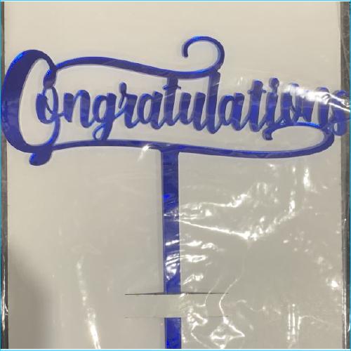 Cake Topper Congratulations Blue