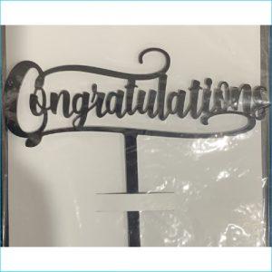 Cake Topper Congratulations Black