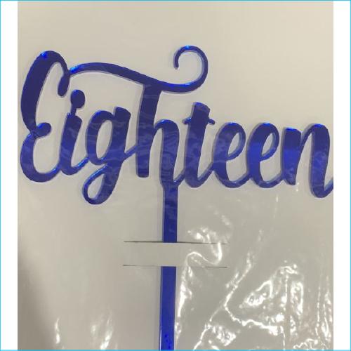 Cake Topper Eighteen Blue