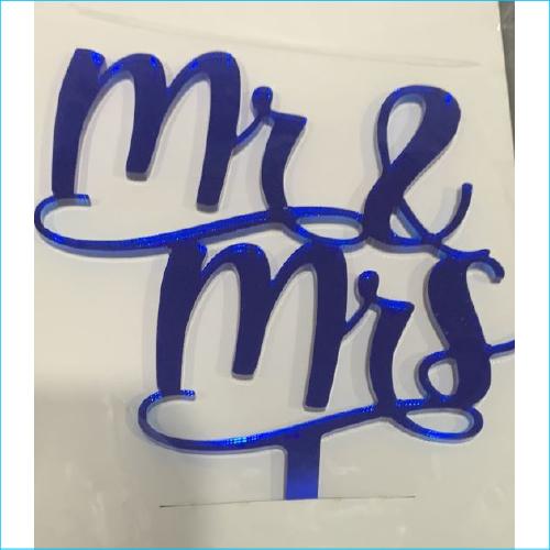 Cake Topper Mr & Mrs Blue