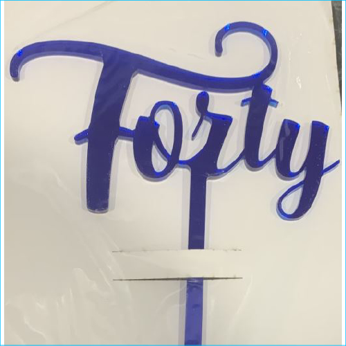 Cake Topper Forty Blue