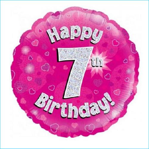 Foil 7th Birthday Pink 45cm