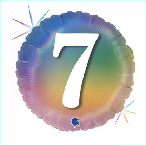Foil 7th Birthday Pastel Rainbow 45cm