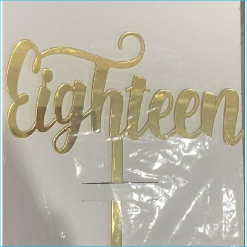 Cake Topper Eighteen Gold