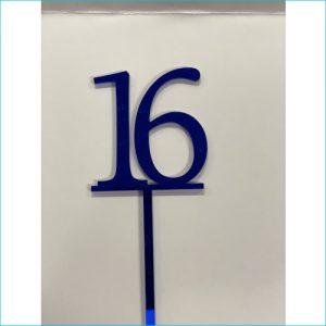 Cake Topper Blue Number 16
