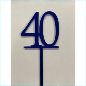 Cake Topper Blue Number 40