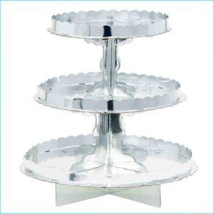 """Cupcake Stand 3 Tier Silver 11.5"""""""