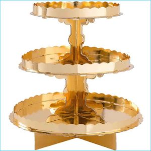 """Cupcake Stand 3 Tier Gold 11.5"""""""